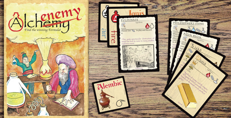 Image of Alchenemy game box, sample cards in play